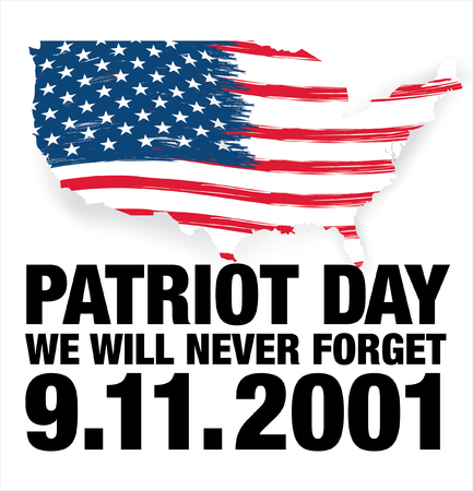 Patriot Day. September 11. We will never forget Illustration