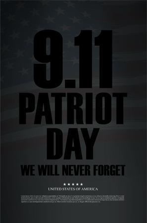 eleventh: Patriot Day. September 11. We will never forget Illustration