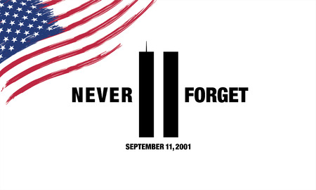Patriot Day. September 11. We will never forget 矢量图像