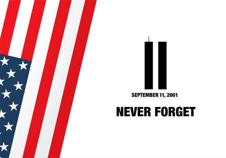 september: Patriot Day. September 11. We will never forget Illustration