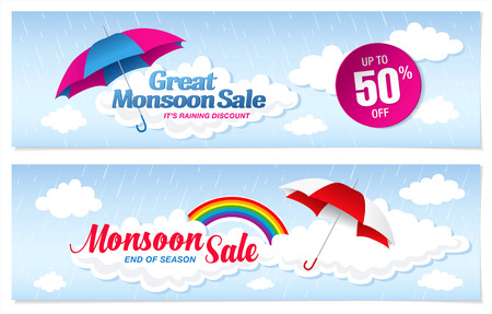 Monsoon sale banner template design Vektorové ilustrace