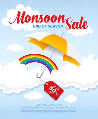 monsoon: Monsoon sale banner template design Illustration