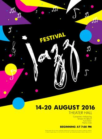 Jazz festival - live music. Poster template design Vector Illustration