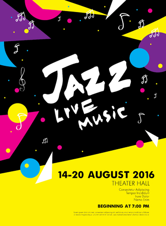 black yellow: Jazz festival - live music. Poster template design