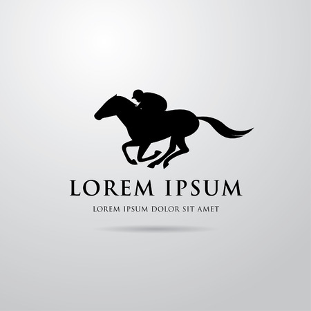 Silhouette of racing horse with jockey. Equestrian sport