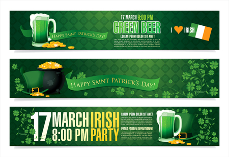 17: Happy Saint Patricks day. Vector banners