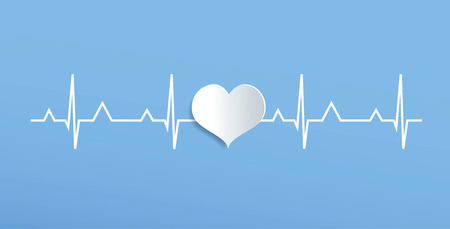 over: heart cardiogram over blue background