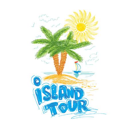 tour: island tour travel illustration