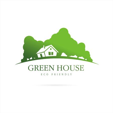 la casa del eco. casa verde Ilustración de vector