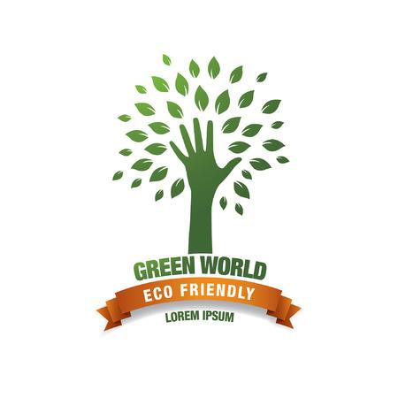 green world: eco green hand, concept logo Illustration