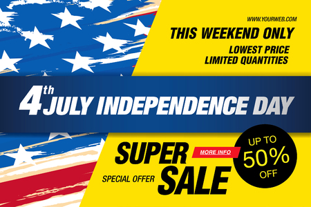 Independence day sale banner template design Ilustrace