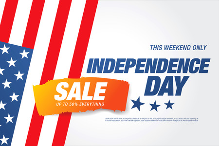 Independence day sale banner template design 向量圖像