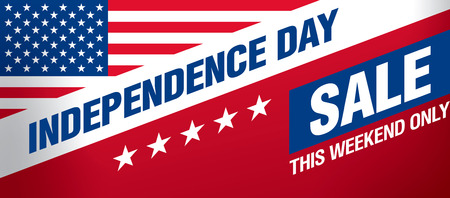 Independence day sale banner template design Illustration