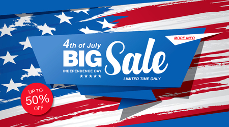 Independence day sale banner template design 矢量图像