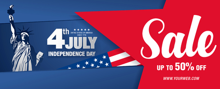 Independence day sale banner template design Vettoriali