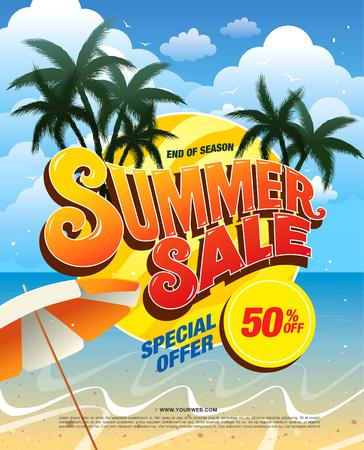 summer sale template banner Vector Illustration