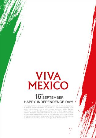 drapeau mexicain: Viva Mexico! 16 e de Septembre. Joyeux Jour de l'Indépendance! Illustration