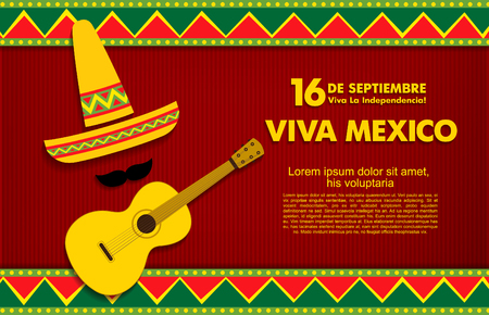 16 th of September. Happy Independence day! Viva Mexico! Vektoros illusztráció