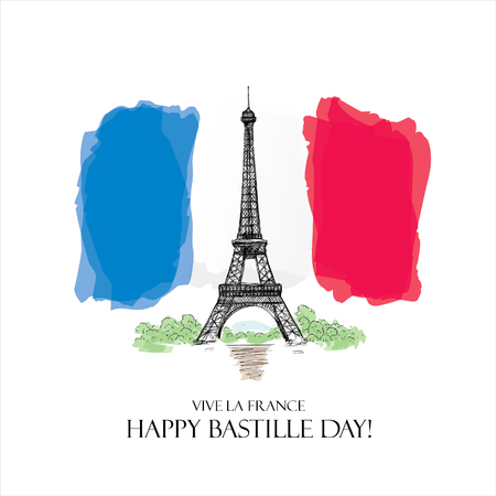 France. 14 july. Happy Bastille Day! Imagens - 57238177