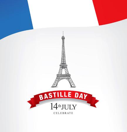 프랑스. 7 월 14 일. 해피 바스티유의 날! 일러스트
