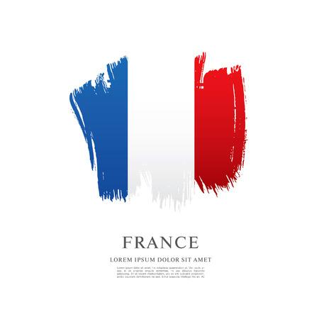 브러쉬 선 배경에서 만든 프랑스 국기 일러스트