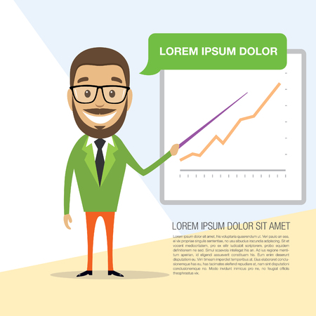 commend: Happy successful businessman with company schedule. Vector illustration Illustration
