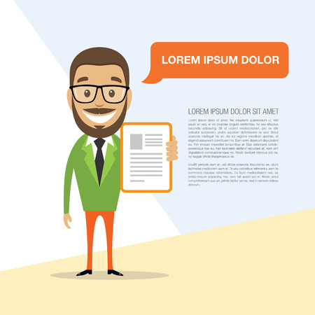 commend: Happy successful businessman with a ready resume. Vector illustration Illustration