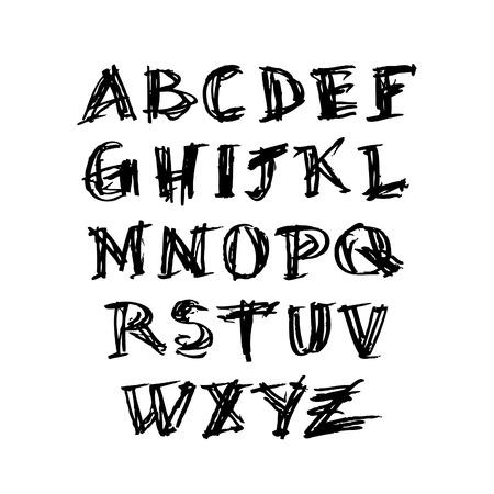 docket: Grunge hand drawn alphabet Illustration