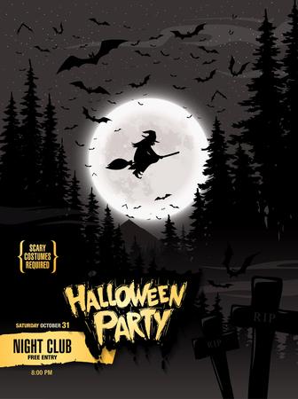 besom: Halloween party. Vector illustration