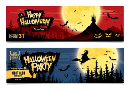 calabazas de halloween: Feliz Halloween. Fiesta de Halloween. Dos banderas del vector. ilustración de color