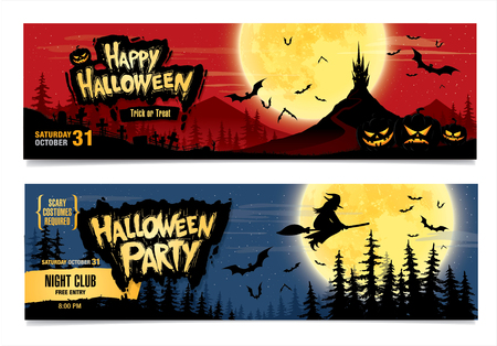 night party: Happy Halloween. Halloween party. Two vector banners. Color illustration