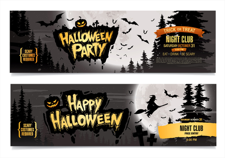 halloween party: Happy Halloween. Halloween party. Two vector banners.