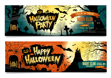 Happy Halloween. Halloween party. Two vector banners.