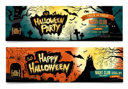 Happy Halloween. Halloween party. Two vector banners.