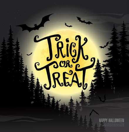 trick: Trick or treat. Happy halloween. Vector illustration