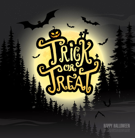 trick or treat: Trick or treat. Happy halloween. Vector illustration