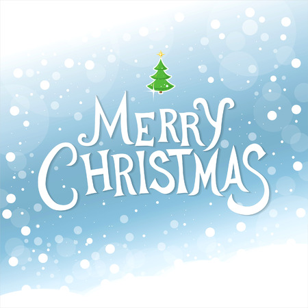 snowdrift: Merry Christmas lettering. Christmas greeting card. Illustration
