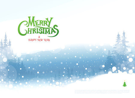 white winter: Merry Christmas and Happy New Year. Christmas greeting card.