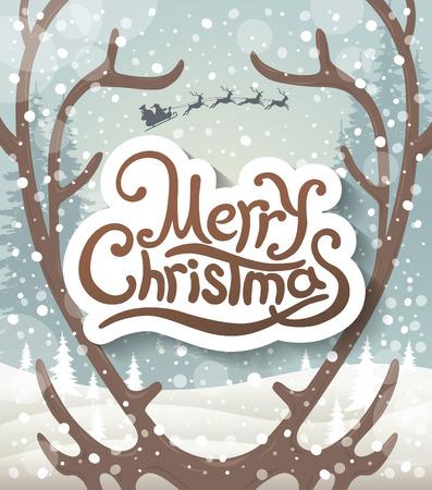 antlers: Christmas greeting card. Reindeer antlers. Santa Claus riding in a sleigh with reindeer