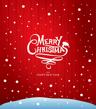 greeting card background: Christmas greeting card. Vector lettering over red background Illustration