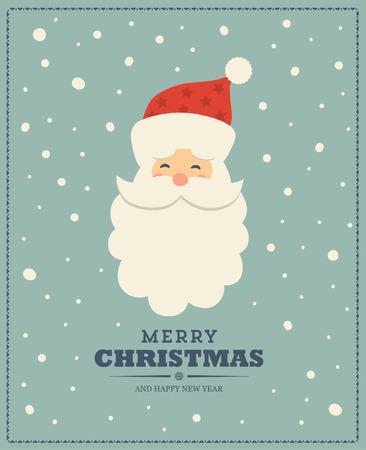 Weinleseweihnachtsgruß-Kartendesign mit Santa Claus