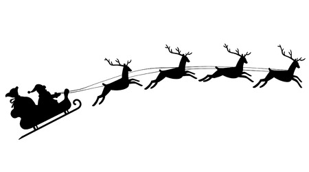 santas sack: Silhouette of Santa Claus riding in a sleigh with reindeer