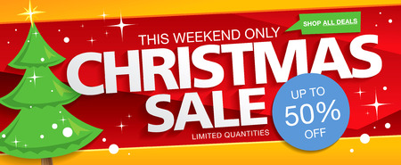 discount banner: Christmas sale. Vector banner