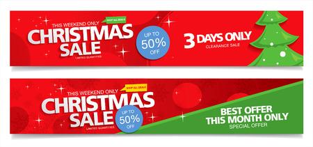 Kerst verkoop. Vector banners Stock Illustratie