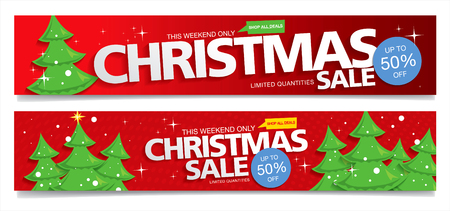 Christmas sale. Vector banners Vettoriali