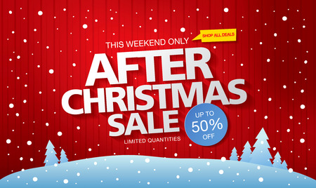 After Christmas sale. Vector banner Vettoriali