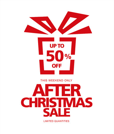 boxing day special: After Christmas sale. Image of gift Illustration