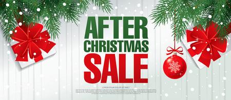 後クリスマス セール。ベクター バナー  イラスト・ベクター素材