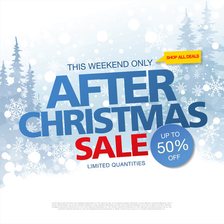tally: After Christmas sale. Vector banner Illustration