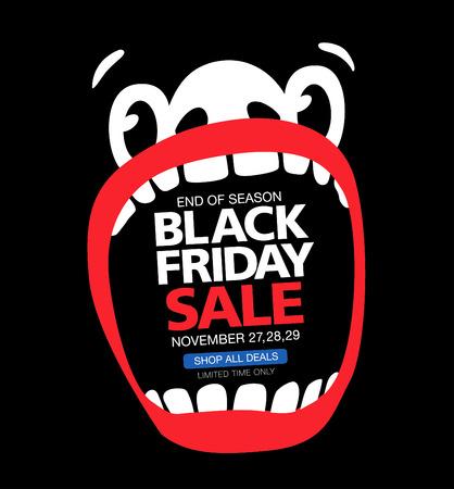 Zwarte vrijdag verkoop. Een groot gezicht met een open mond Stock Illustratie